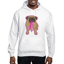 Pink Ribbon Fawn Pug Hoodie