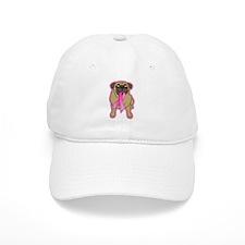Pink Ribbon Fawn Pug Baseball Cap