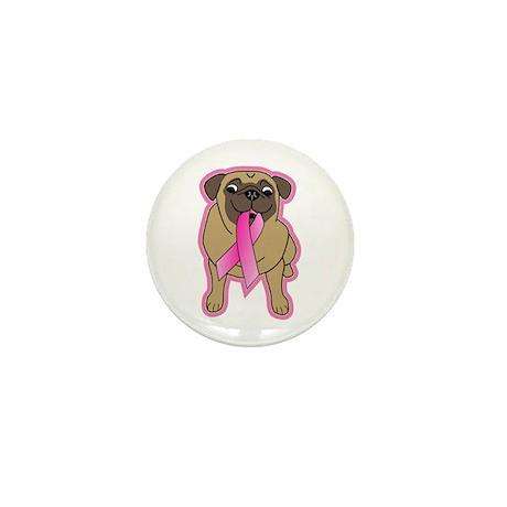 Pink Ribbon Fawn Pug Mini Button (10 pack)