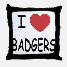 I heart badgers Throw Pillow