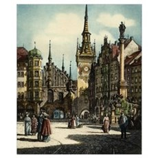 Old Munich Cityscape Poster