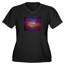 Look At The Stars Women's Plus Size V-Neck Dark T-