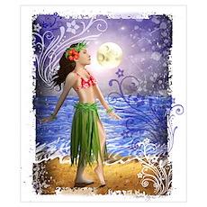Hula Girl, Ocean, Paradise, T Poster