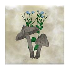 Brown Mushrooms Flax Flower Tile Coaster