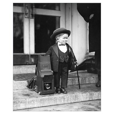 Midget Beside Press Camera, 1922 Poster