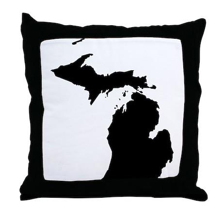 Michigan Map Throw Pillow