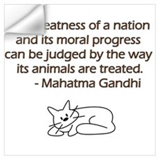 Gandhi Quote with Cat Wall Decal