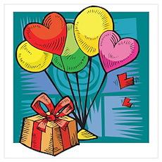 Heart Balloons & Present Poster