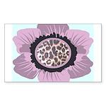 Pink Flower Leopard Print Sticker (Rectangle 10 pk