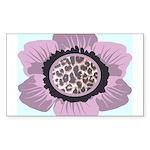 Pink Flower Leopard Print Sticker (Rectangle)