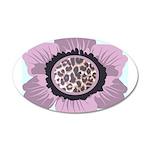 Pink Flower Leopard Print 22x14 Oval Wall Peel