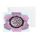 Pink Flower Leopard Print Greeting Cards (Pk of 20