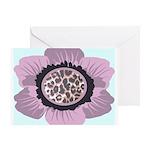 Pink Flower Leopard Print Greeting Card