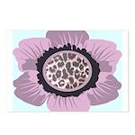 Pink Flower Leopard Print Postcards (Package of 8)