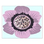 Pink Flower Leopard Print Small Poster