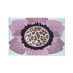 Pink Flower Leopard Print Rectangle Magnet (100 pa