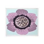 Pink Flower Leopard Print Throw Blanket