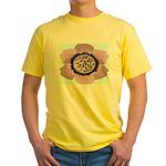 Pink Flower Leopard Print Yellow T-Shirt