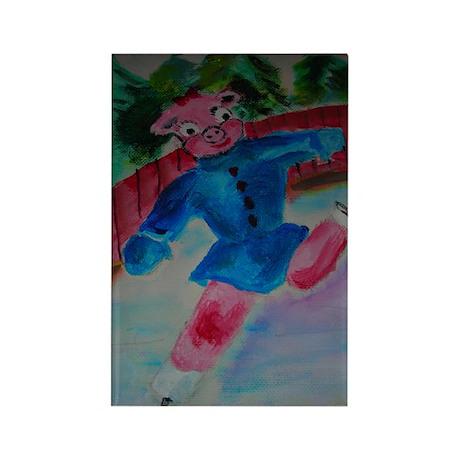 Flying Pig on Skates Magnet