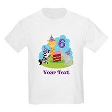 Personalized 6th Birthday Animals T-Shirt