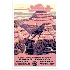 1930s Vintage Grand Canyon National Park Large Pos Canvas Art