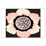 Pink and White Flower Leopard Large Poster