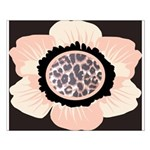Pink and White Flower Leopard Small Poster