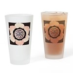 Pink and White Flower Leopard Drinking Glass