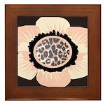 Pink and White Flower Leopard Framed Tile