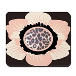 Pink and White Flower Leopard Mousepad