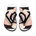 Pink and White Flower Leopard Flip Flops