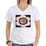 Pink and White Flower Leopard Women's V-Neck T-Shi