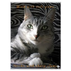 Grey Cat Paws n Claws Poster
