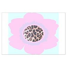 Light Pink Flower Leopard Print Large Poster