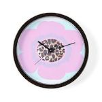 Light Pink Flower Leopard Print Wall Clock