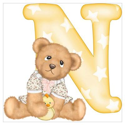 Teddy Alphabet N Yellow Poster