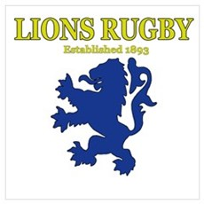 Lions Rugby White Poster