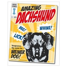Amazing Dachshund Comics Canvas Art