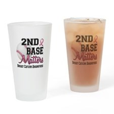 Second 2nd Base Breast Cancer Drinking Glass