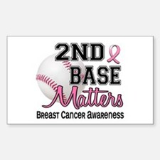 Second 2nd Base Breast Cancer Sticker (Rectangle)