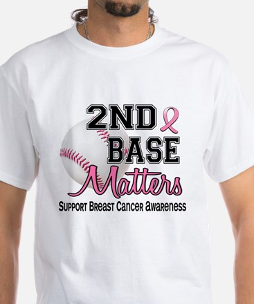 Second 2nd Base Breast Cancer White T-Shirt
