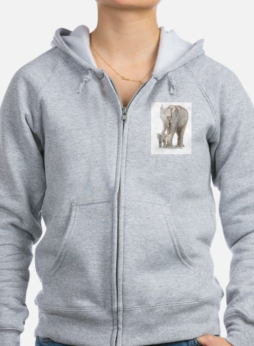 Mother and baby elephant Zip Hoodie