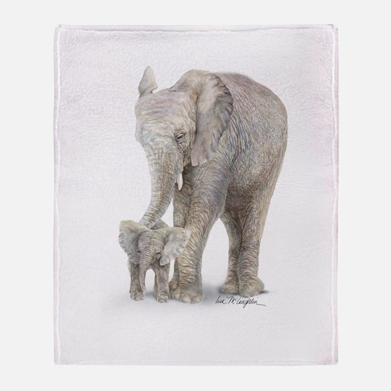 Mother and baby elephant Throw Blanket