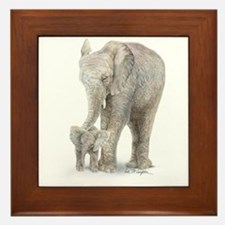 Mother and baby elephant Framed Tile