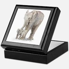 Mother and baby elephant Keepsake Box