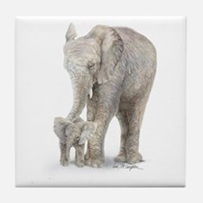Mother and baby elephant Tile Coaster