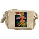Wink Hot Blonde Girl in Pink Messenger Bag