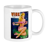 Wink Hot Blonde Girl in Pink Mug