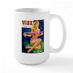 Wink Hot Blonde Girl in Pink Large Mug