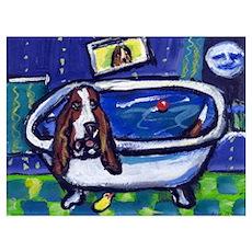 BASSET HOUND takes Bath Desig Poster